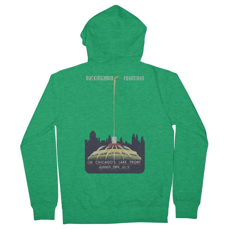 Buckingham Fountain Men's Zip-Up Hoody by chicago park district's Artist Shop