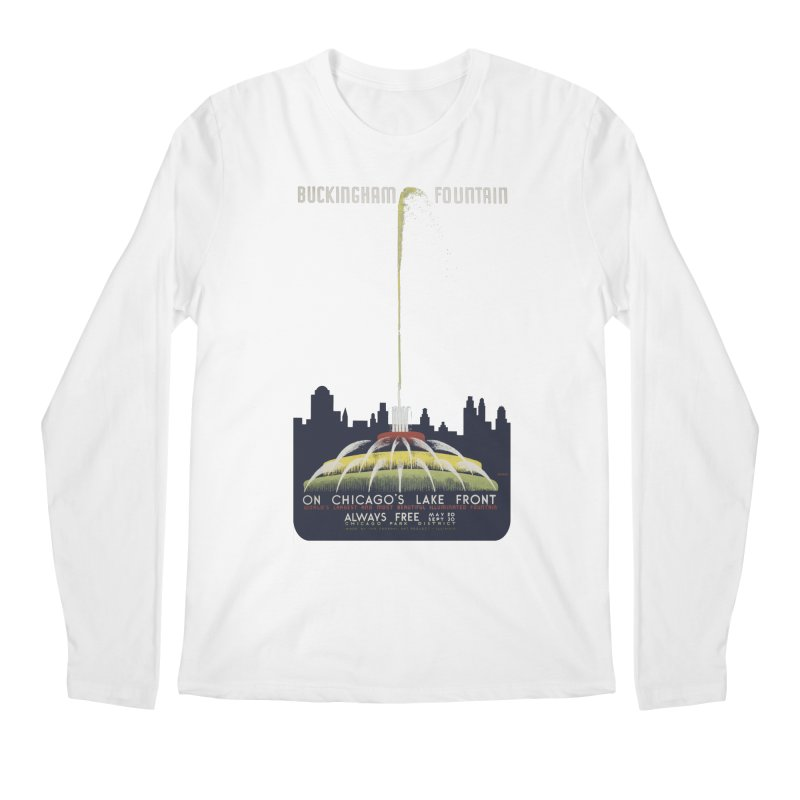 Buckingham Fountain Men's Regular Longsleeve T-Shirt by chicago park district's Artist Shop