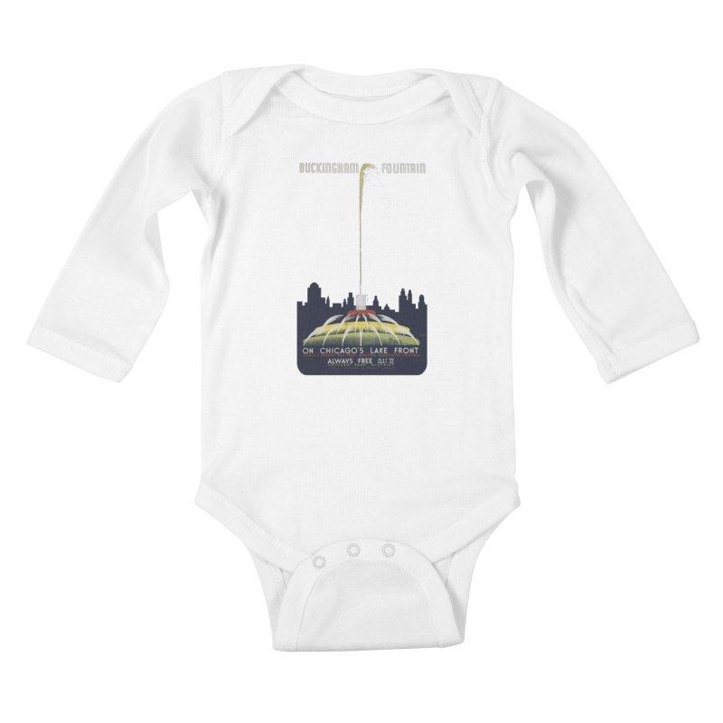 Buckingham Fountain Kids Baby Longsleeve Bodysuit by chicago park district's Artist Shop