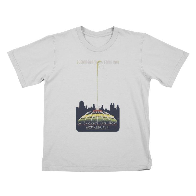 Buckingham Fountain Kids T-Shirt by chicago park district's Artist Shop