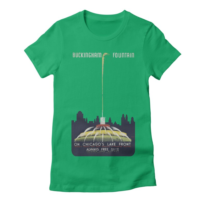 Buckingham Fountain Women's Fitted T-Shirt by chicago park district's Artist Shop