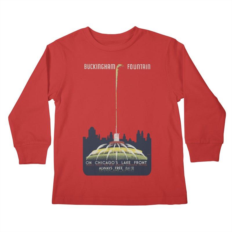 Buckingham Fountain Kids Longsleeve T-Shirt by chicago park district's Artist Shop