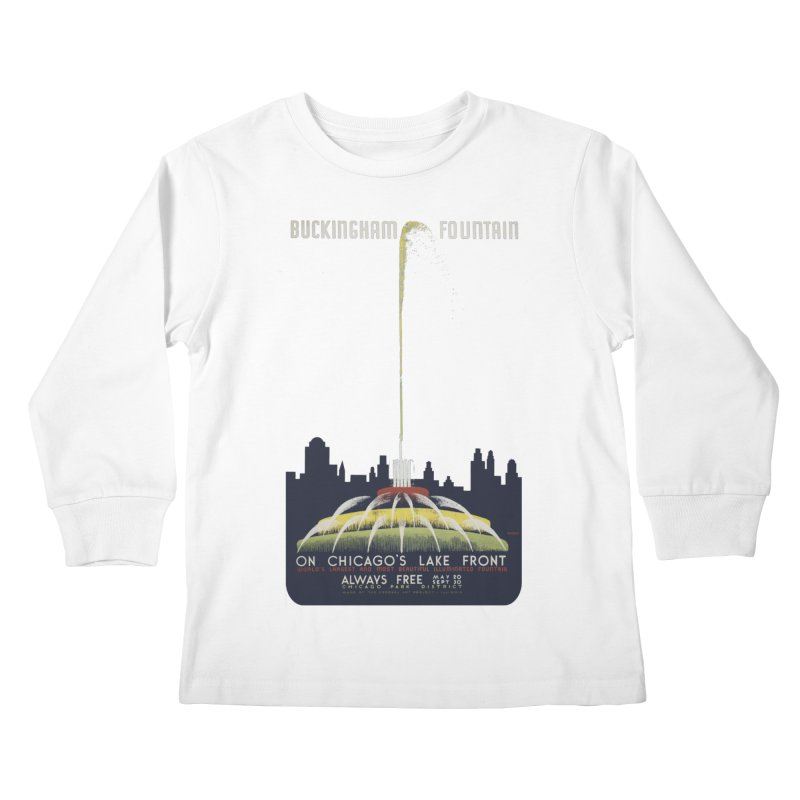 Buckingham Fountain Kids Longsleeve T-Shirt by chicago park district's Artist Shop