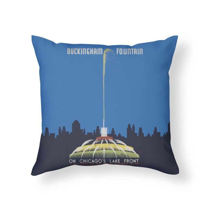 Buckingham Fountain Home Throw Pillow by chicago park district's Artist Shop