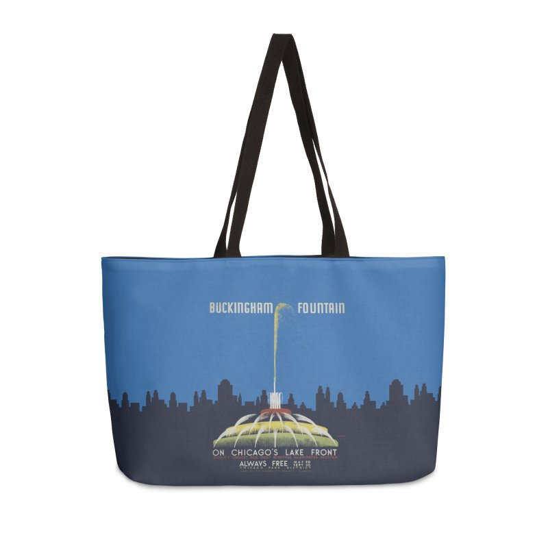 Buckingham Fountain Accessories Weekender Bag Bag by chicago park district's Artist Shop