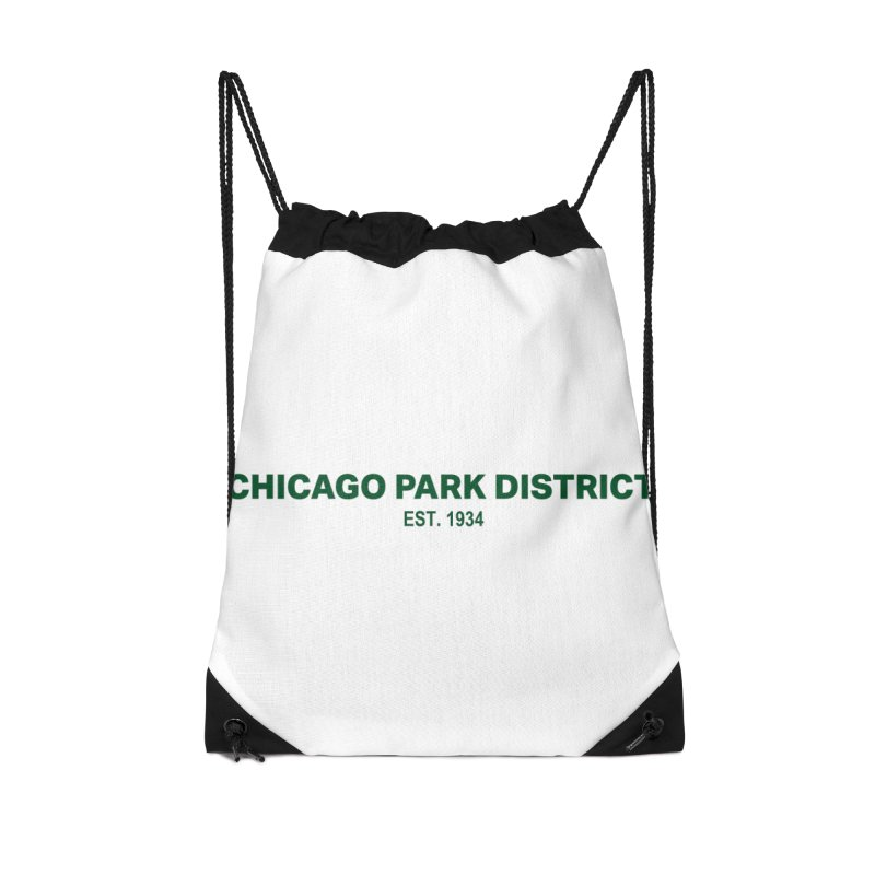 Chicago Park District Established - Green Accessories Drawstring Bag Bag by chicago park district's Artist Shop