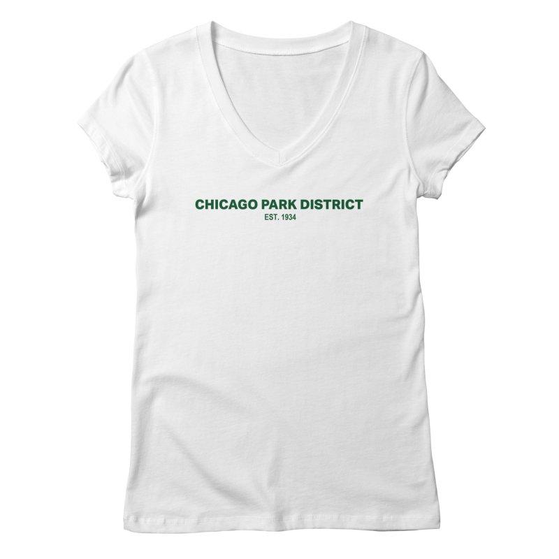 Chicago Park District Established - Green Women's Regular V-Neck by chicago park district's Artist Shop