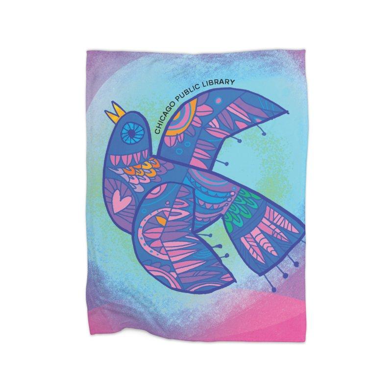 Summer 2019 Bird Background Home Fleece Blanket Blanket by Chicago Public Library Artist Shop