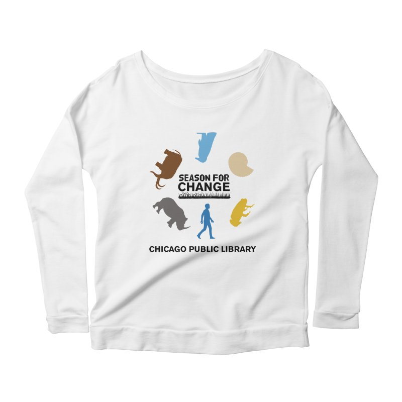 One Book, One Chicago 2019 Season of Change Roundabout Black Text Women's Scoop Neck Longsleeve T-Shirt by Chicago Public Library Artist Shop
