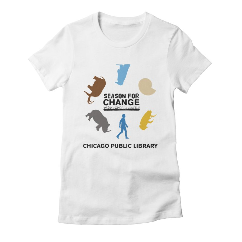 One Book, One Chicago 2019 Season of Change Roundabout Black Text Women's Fitted T-Shirt by Chicago Public Library Artist Shop