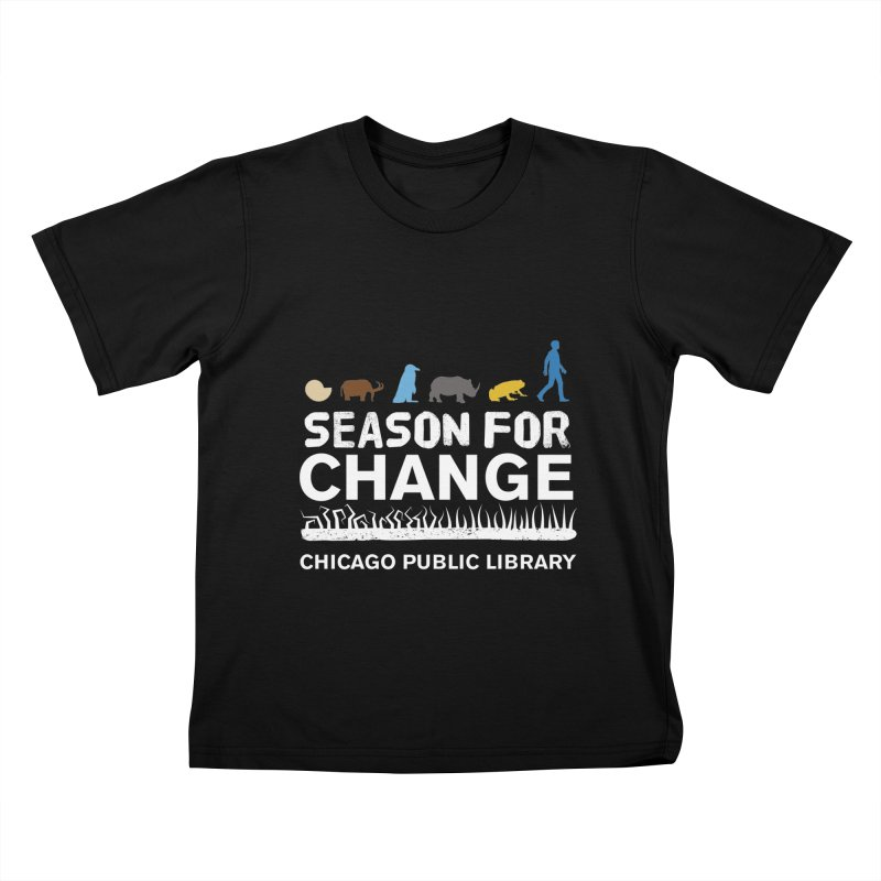One Book, One Chicago 2019 Season of Change White Text Kids T-Shirt by Chicago Public Library Artist Shop