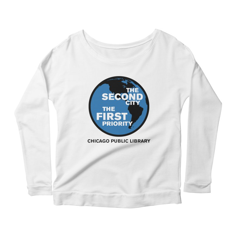 One Book, One Chicago 2019 Second City Black Text Women's Scoop Neck Longsleeve T-Shirt by Chicago Public Library Artist Shop