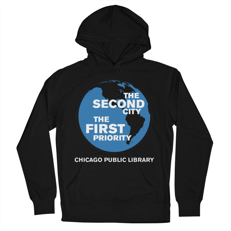 One Book, One Chicago 2019 Second City White Text Men's French Terry Pullover Hoody by Chicago Public Library Artist Shop