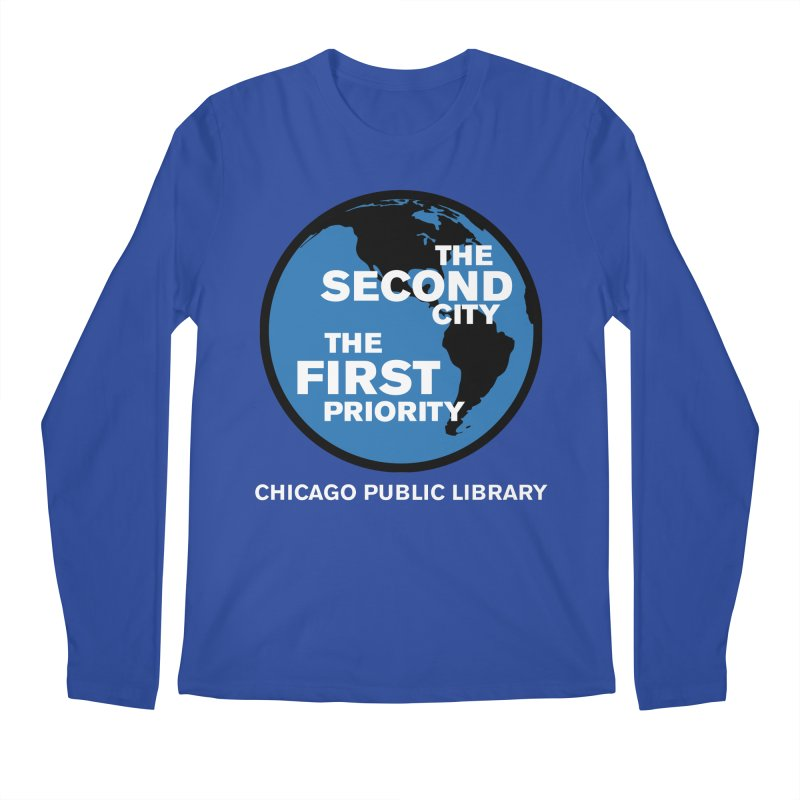 One Book, One Chicago 2019 Second City White Text Men's Regular Longsleeve T-Shirt by Chicago Public Library Artist Shop