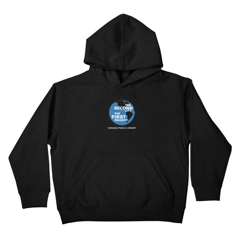 One Book, One Chicago 2019 Second City White Text Kids Pullover Hoody by Chicago Public Library Artist Shop