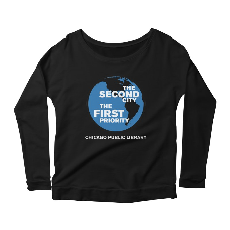 One Book, One Chicago 2019 Second City White Text Women's Scoop Neck Longsleeve T-Shirt by Chicago Public Library Artist Shop