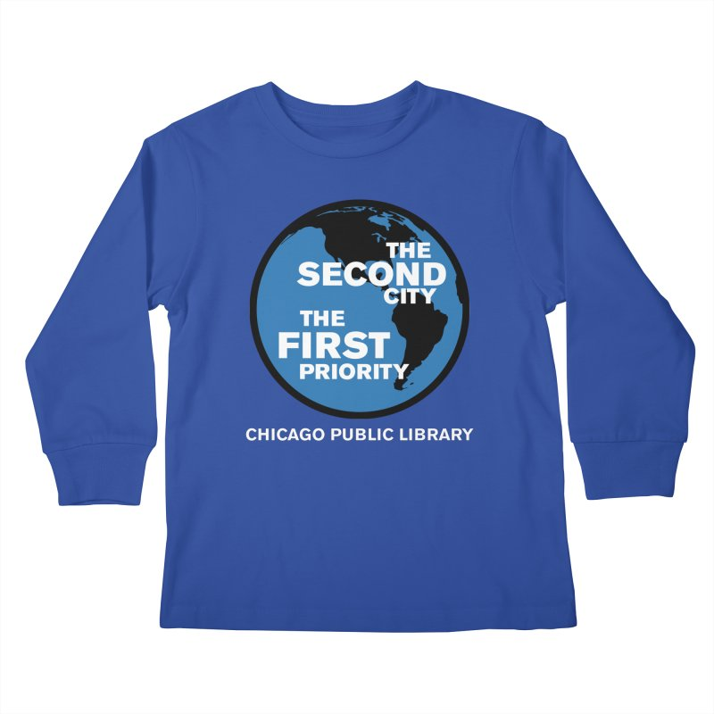 One Book, One Chicago 2019 Second City White Text Kids Longsleeve T-Shirt by Chicago Public Library Artist Shop