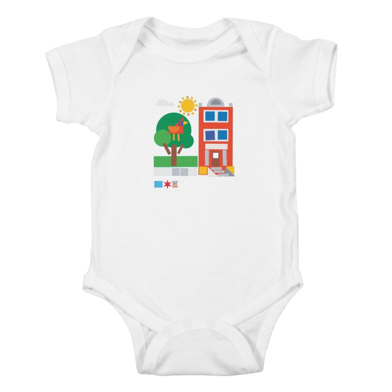 Summer 2020 Early Learning Bird & Apartment Kids Baby Bodysuit by Chicago Public Library Artist Shop