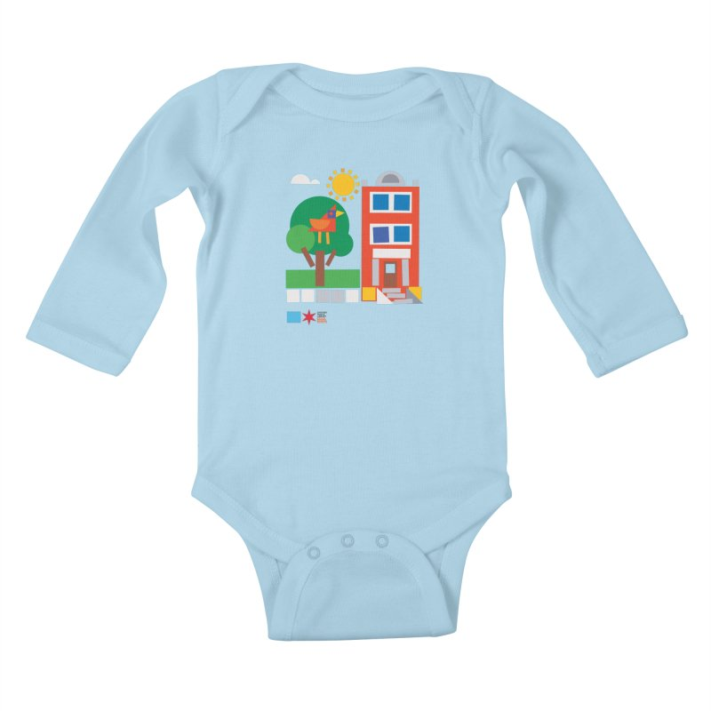 Summer 2020 Early Learning Bird & Apartment Kids Baby Longsleeve Bodysuit by Chicago Public Library Artist Shop