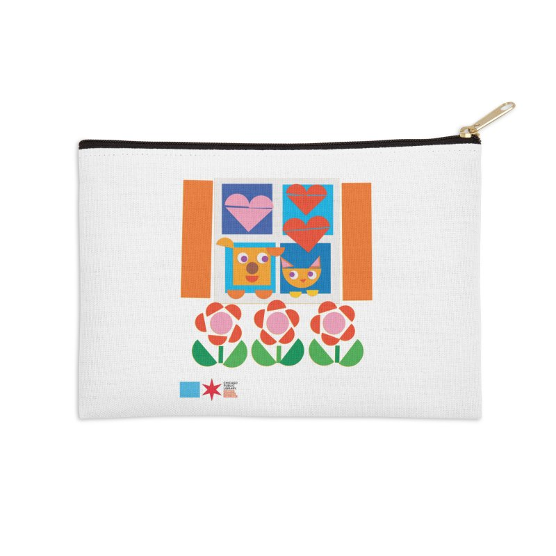 Summer 2020 Early Learning Cat & Dog Accessories Zip Pouch by Chicago Public Library Artist Shop