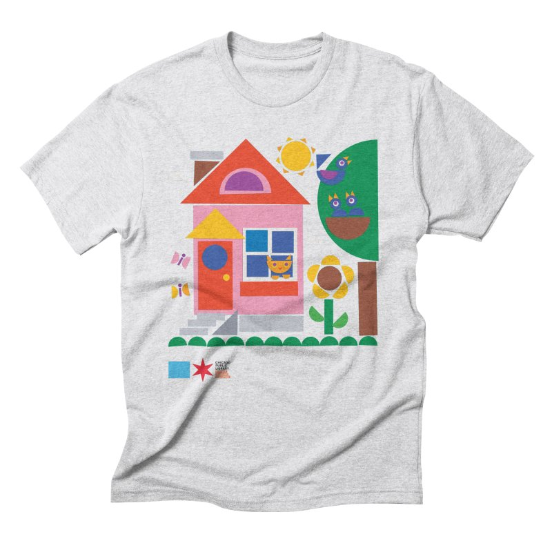Summer 2020 Early Learning Cat & Birds Men's T-Shirt by Chicago Public Library Artist Shop