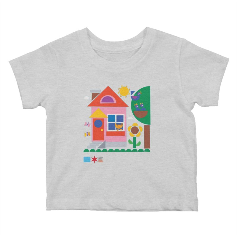 Summer 2020 Early Learning Cat & Birds Kids Baby T-Shirt by Chicago Public Library Artist Shop