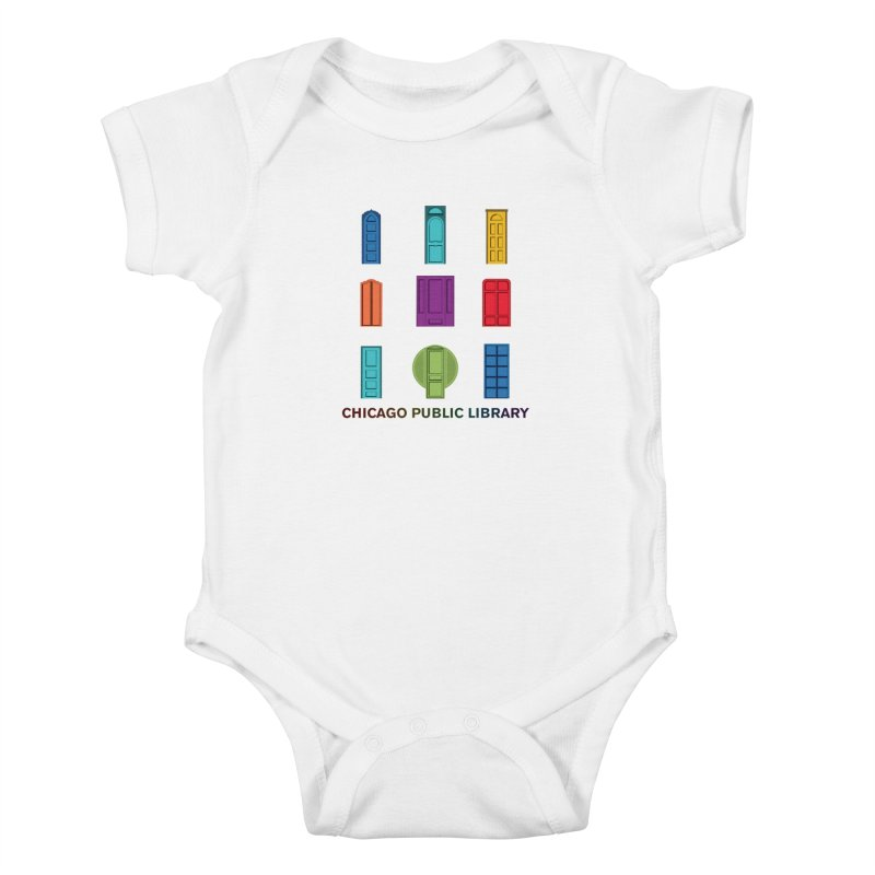 One Book, One Chicago 2020 Beyond Borders Rainbow Doors Stacked Kids Baby Bodysuit by Chicago Public Library Artist Shop
