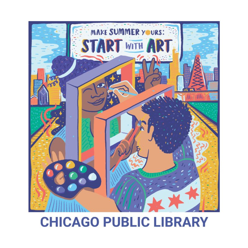 Summer 2021 - Start with Art Cover Art Women's T-Shirt by Chicago Public Library Artist Shop