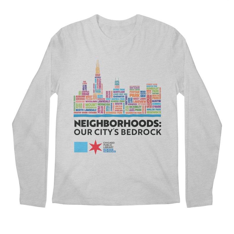 One Book, One Chicago 2021 City Neighborhoods Skyline Men's Longsleeve T-Shirt by Chicago Public Library Artist Shop