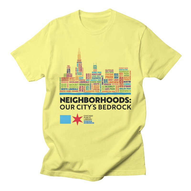 One Book, One Chicago 2021 City Neighborhoods Skyline Men's T-Shirt by Chicago Public Library Artist Shop