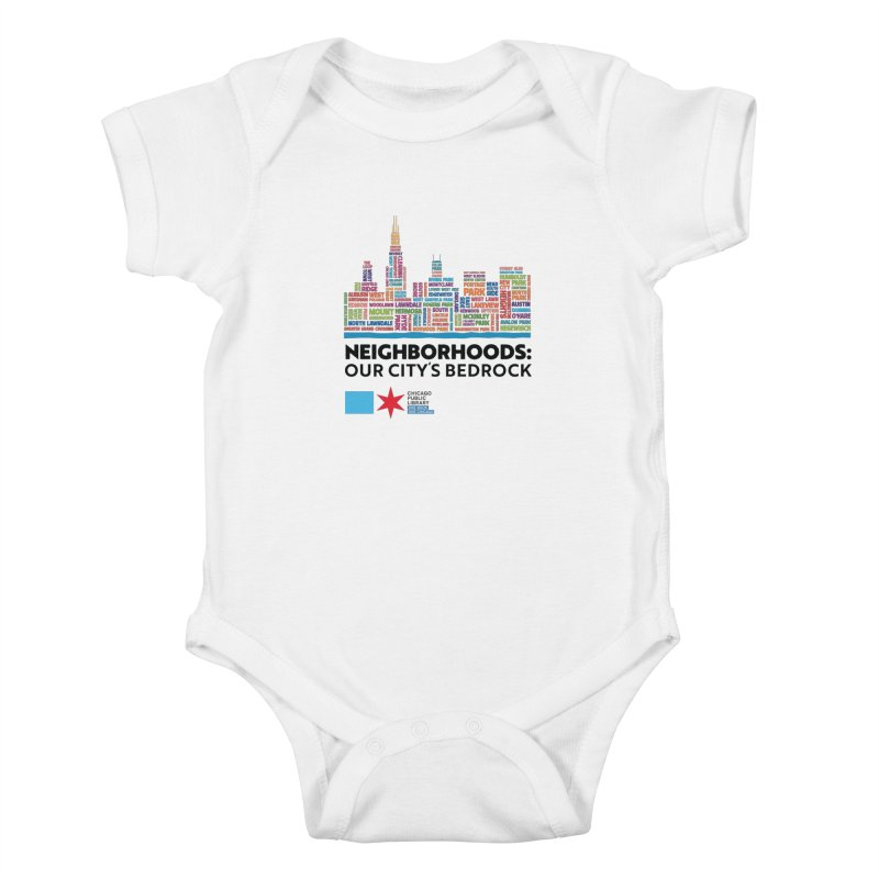 One Book, One Chicago 2021 City Neighborhoods Skyline Kids Baby Bodysuit by Chicago Public Library Artist Shop