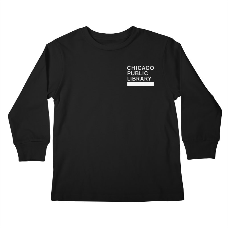 CPL Master Logo Reverse Kids Longsleeve T-Shirt by Chicago Public Library Artist Shop