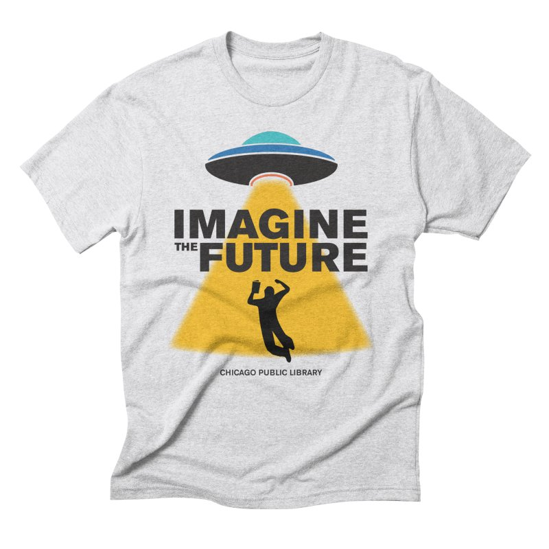 One Book, One Chicago 2018 Imagine the Future Saucer Men's Triblend T-Shirt by Chicago Public Library Artist Shop