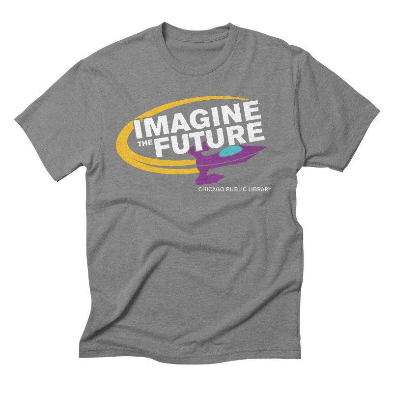 One Book, One Chicago 2018 Imagine the Future Rocket Men's Triblend T-Shirt by Chicago Public Library Artist Shop