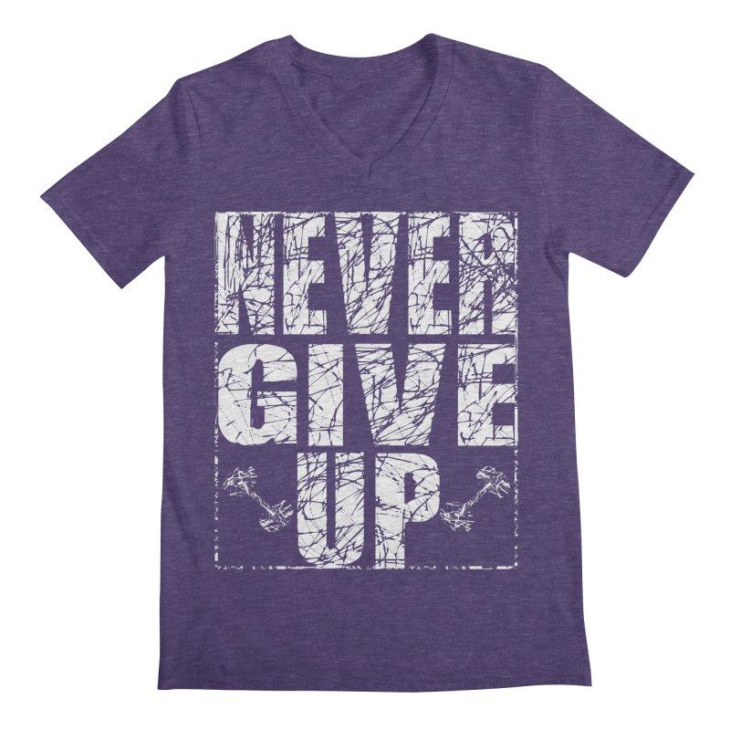 Never Give Up  Men's Regular V-Neck by chicharostudios's  Shop