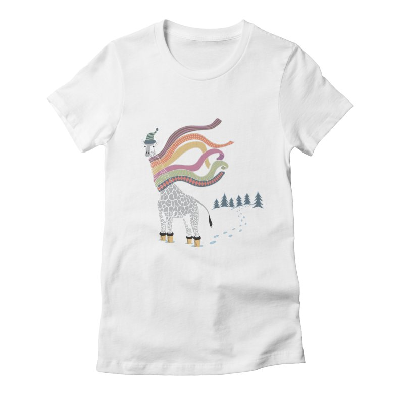 The Snow Giraffe Women's Fitted T-Shirt by Chick & Owl Artist Shop