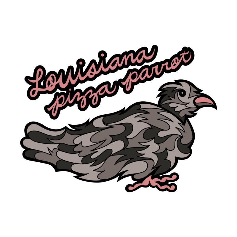 Louisiana Pizza Parrot Men's T-Shirt by Chickenbilly's Artist Shop