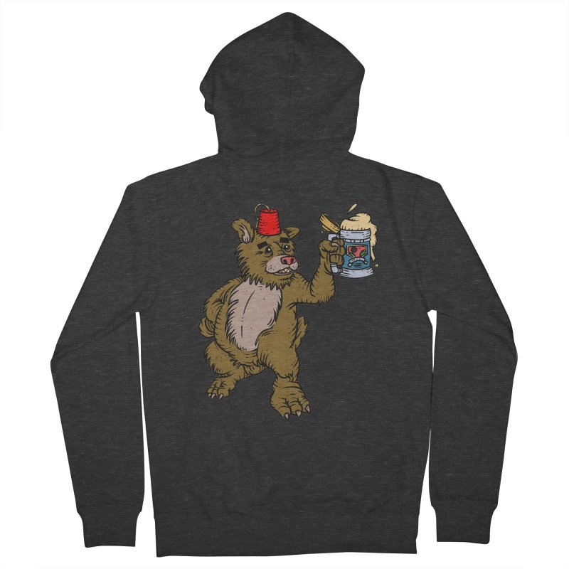 Lokys The Drunk Bear Men's French Terry Zip-Up Hoody by Chicken Outfit Tees