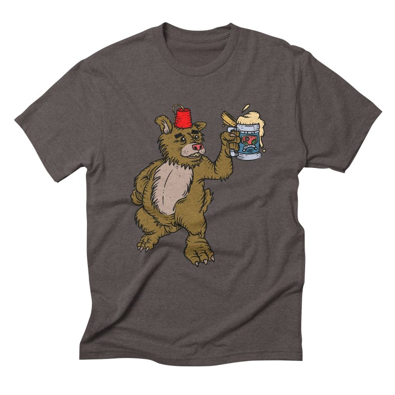 Lokys The Drunk Bear Men's Triblend T-Shirt by Chicken Outfit Tees