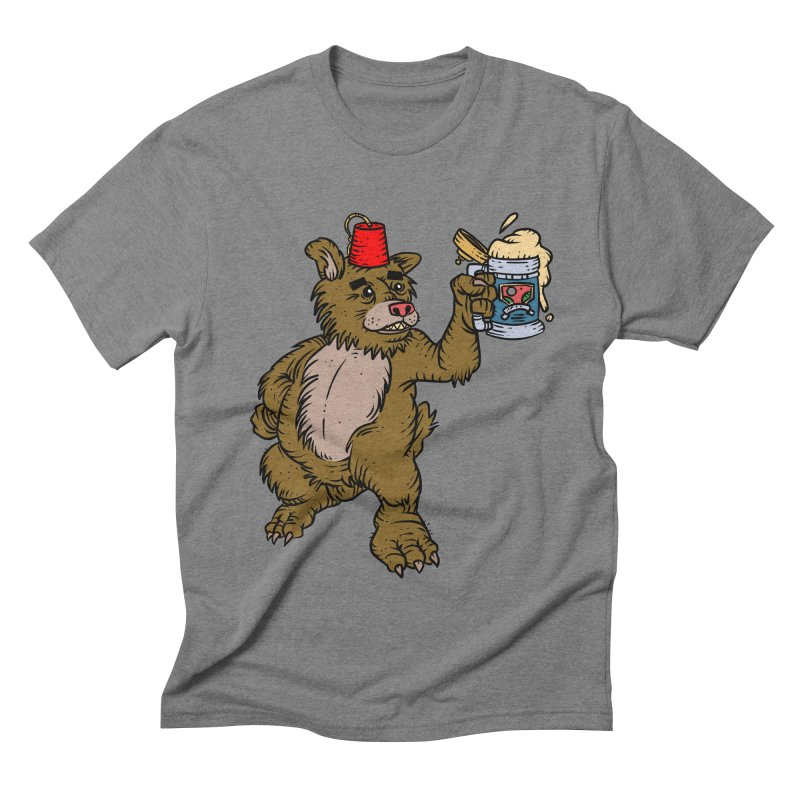 Lokys The Drunk Bear in Men's Triblend T-shirt Grey Triblend by Chicken Outfit Tees
