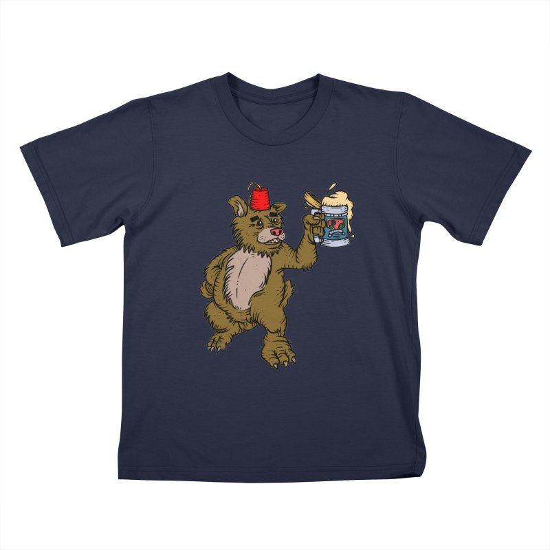 Lokys The Drunk Bear Kids T-Shirt by Chicken Outfit Tees