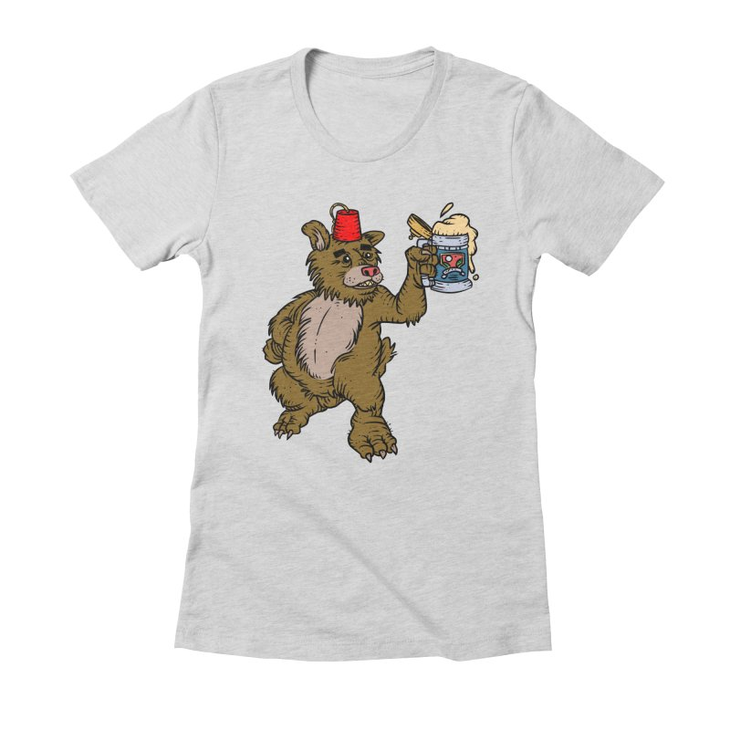 Lokys The Drunk Bear Women's Fitted T-Shirt by Chicken Outfit Tees
