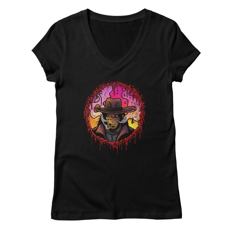 Bullethole Women's Regular V-Neck by Chimpman-Z Shop