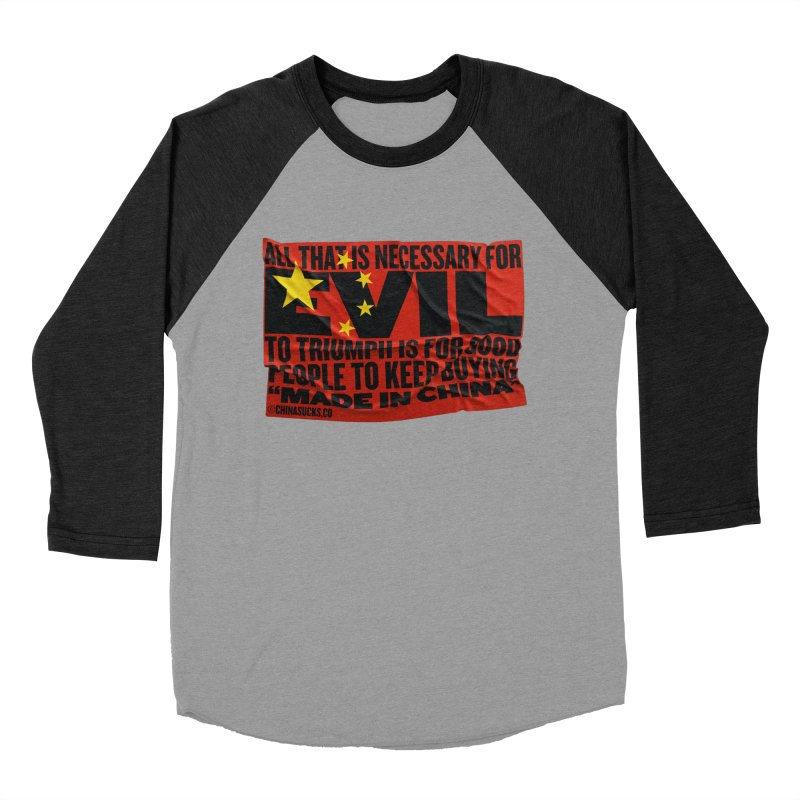 Made in China Women's Baseball Triblend Longsleeve T-Shirt by China Sucks™