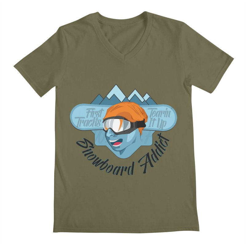 Snowboard Addict Men's Regular V-Neck by Florin Chitic