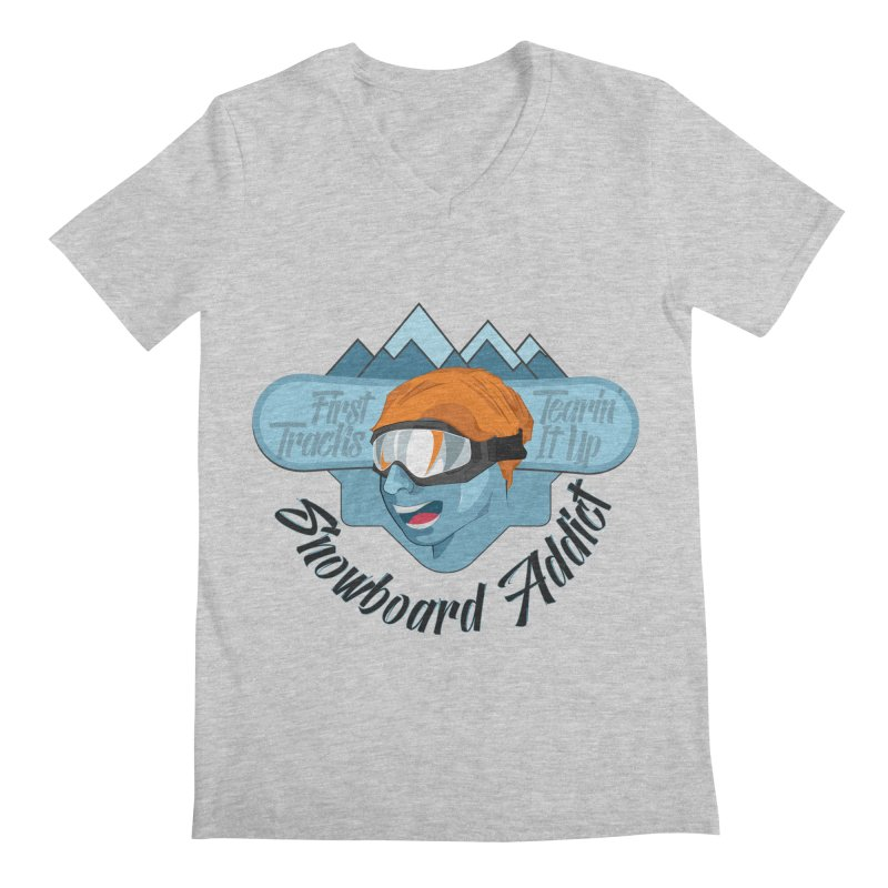 Snowboard Addict Men's V-Neck by Florin Chitic