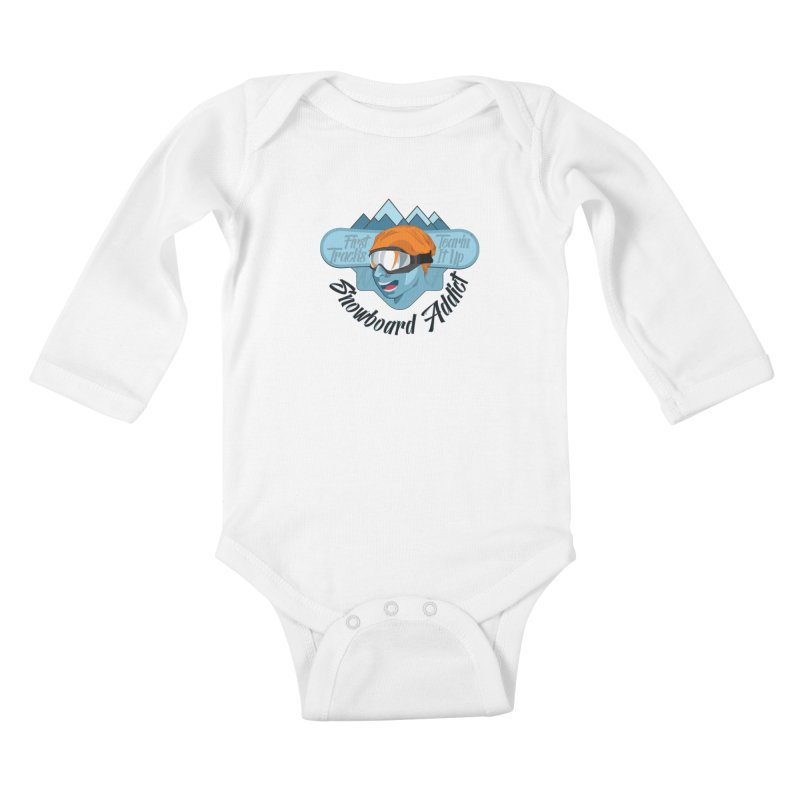 Snowboard Addict Kids Baby Longsleeve Bodysuit by Florin Chitic