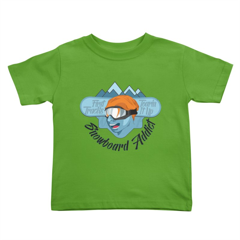 Snowboard Addict Kids Toddler T-Shirt by Florin Chitic