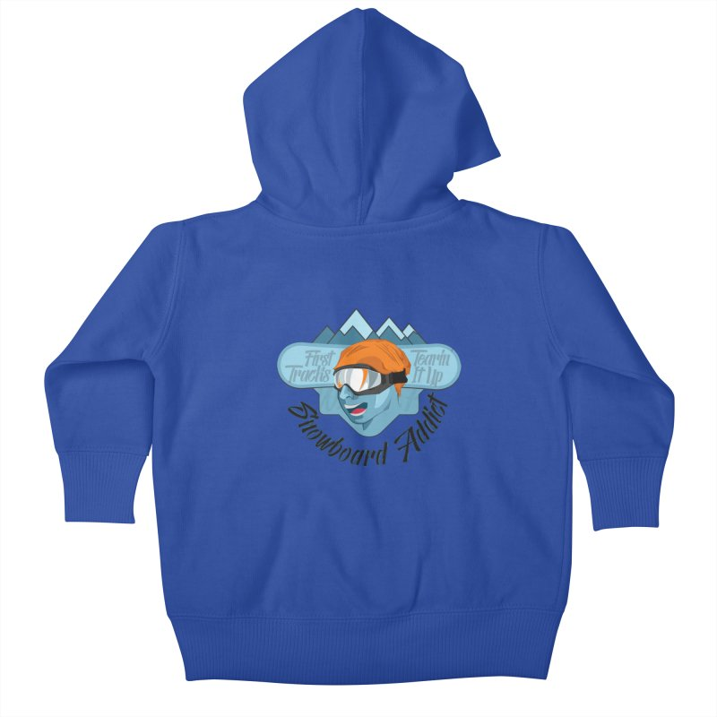 Snowboard Addict Kids Baby Zip-Up Hoody by Florin Chitic