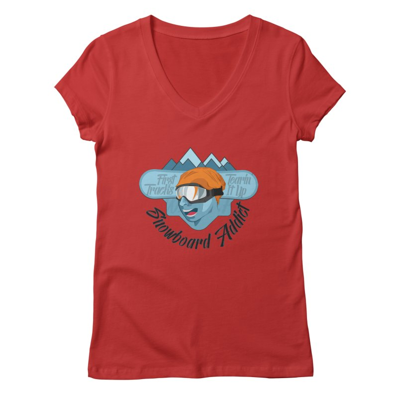 Snowboard Addict Women's Regular V-Neck by Florin Chitic
